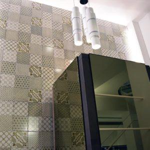 2017 – Made a Mano Binova Durini Opening – NOVECENTO tiles + LUCE ZOE 3 white lamps